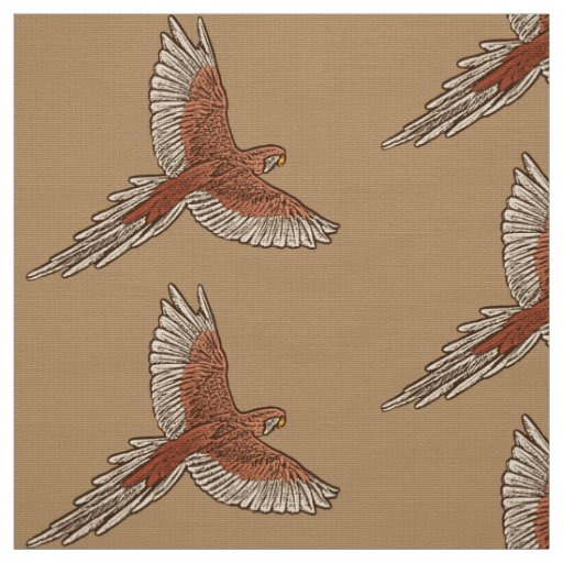 Parrot in Flight, Rust, Cream and Camel Tan