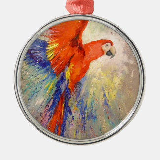 Parrot in flight Silver-Colored round decoration