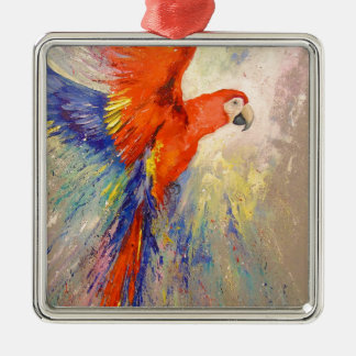 Parrot in flight Silver-Colored square decoration
