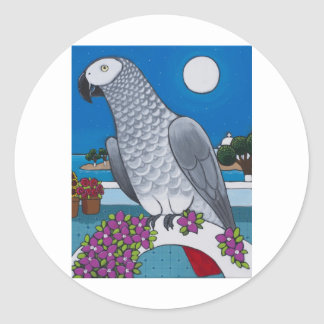 Parrot in Paradise Classic Round Sticker