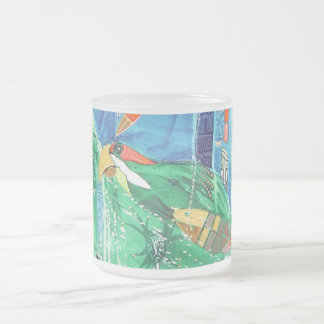 PARROT IN PARADISE FROSTED GLASS MUG