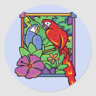 Parrot & Macaw in the Jungle Classic Round Sticker