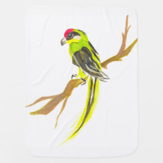 Parrot on a branch. Watercolor painting. Baby Blanket