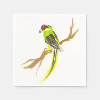 Parrot on a branch. Watercolor painting. Disposable Serviette