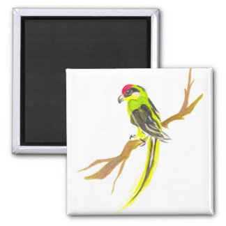 Parrot on a branch. Watercolor painting. Magnet