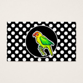 Parrot on Black and White Polka Dots