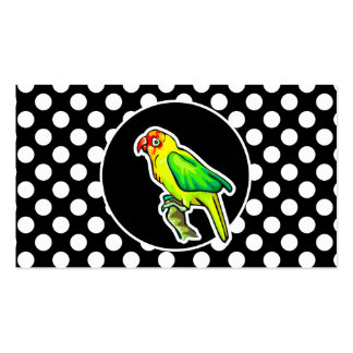 Parrot on Black and White Polka Dots Business Card