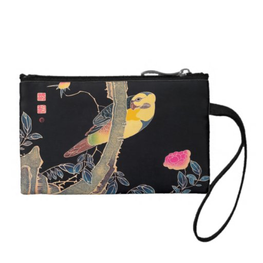 Parrot on the Branch of a Flowering Rose Bush Change Purse