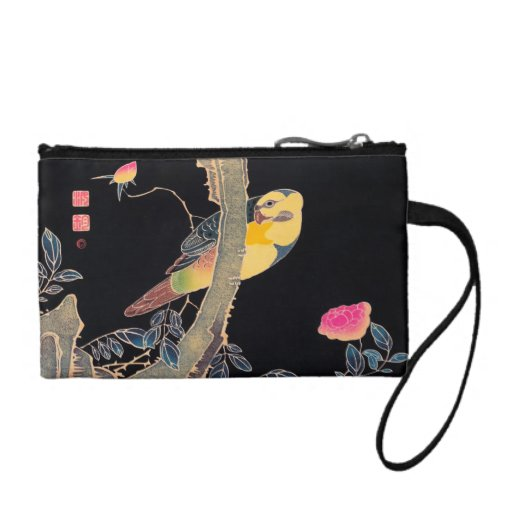 Parrot on the Branch of a Flowering Rose Bush Change Purses