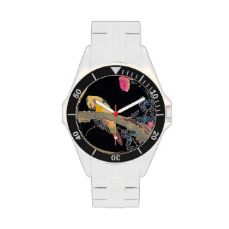 Parrot on the Branch of a Flowering Rose Bush Wrist Watches