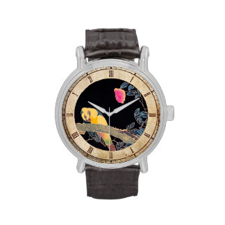 Parrot on the Branch of a Flowering Rose Bush Wrist Watch