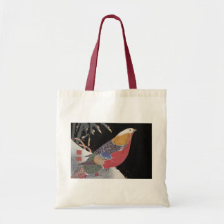 Parrot on the Branch of a Flowering Rose Bush, Jak Budget Tote Bag