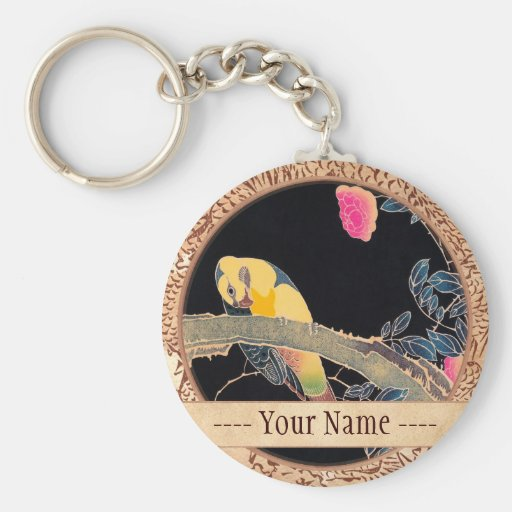 Parrot on the Branch of a Flowering Rose Bush Key Chains
