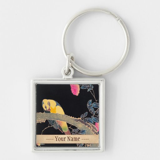 Parrot on the Branch of a Flowering Rose Bush Keychain