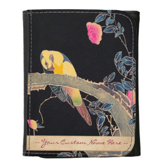 Parrot on the Branch of a Flowering Rose Bush Leather Wallets