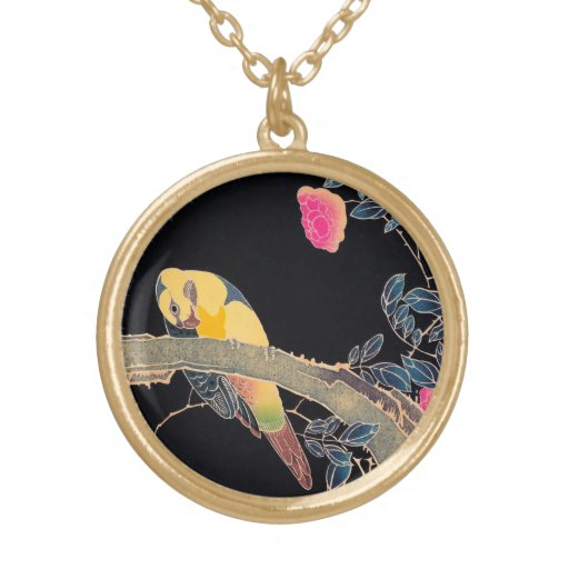 Parrot on the Branch of a Flowering Rose Bush Custom Necklace