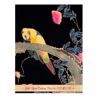 Parrot on the Branch of a Flowering Rose Bush Postcard