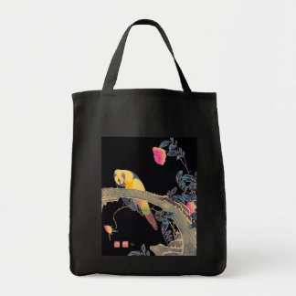 Parrot on the Branch of a Flowering Rose Bush Bags