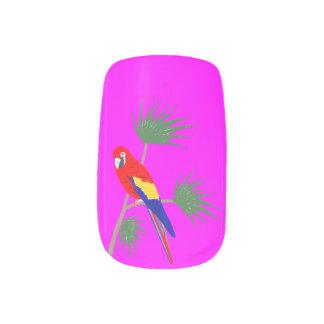 Parrot on tropical plant nail wraps
