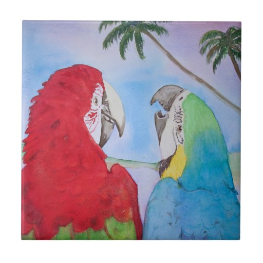 Parrot Pair Happy Talking Couple Tile Painting