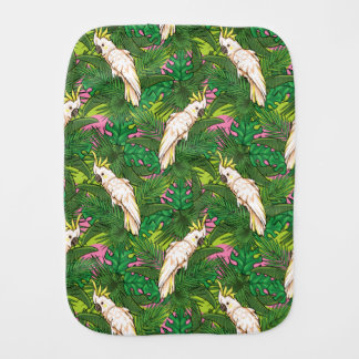 Parrot Pattern With Palm Leaves Baby Burp Cloth