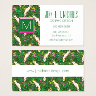 Parrot Pattern With Palm Leaves Business Card