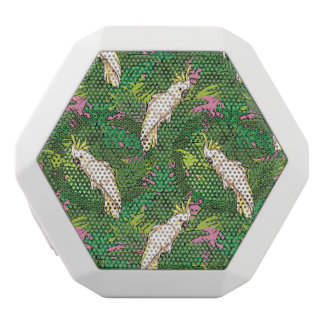 Parrot Pattern With Palm Leaves White Bluetooth Speaker