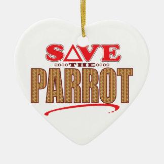 Parrot Save Ceramic Heart Decoration