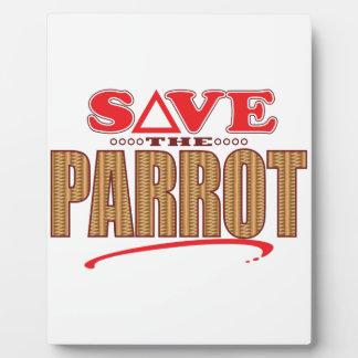 Parrot Save Plaque