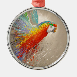 Parrot Silver-Colored Round Decoration
