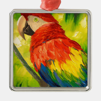 Parrot Silver-Colored Square Decoration