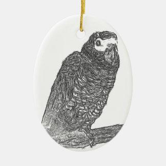 Parrot Sketch Ceramic Oval Decoration
