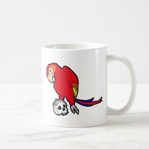 Parrot & Skull Basic White Mug