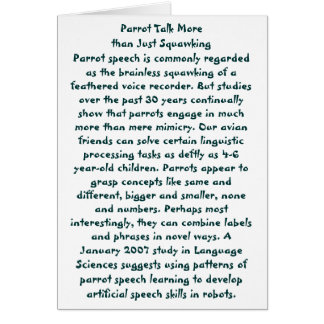 Parrot Talk Card
