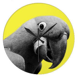 Parrot tropical animal photo modern black white large clock