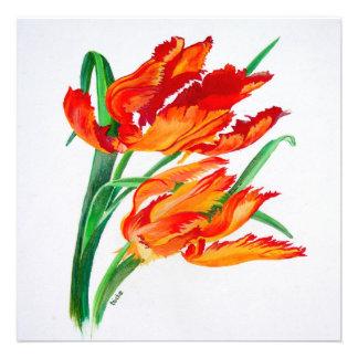 Parrot Tulip Square Custom Invitations
