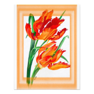 Parrot Tulip with Border Personalized Announcements