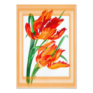 Parrot Tulip with Border 5x7 Paper Invitation Card