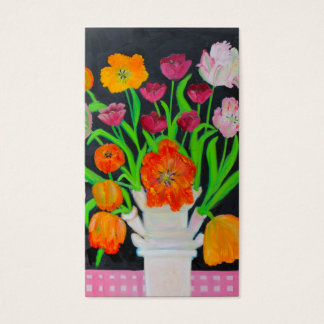 Parrot Tulips in Tulipiere on Pink Tablecloth Business Card