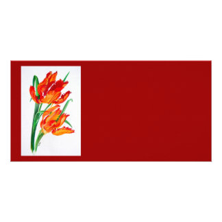 Parrot Tulips Customized Photo Card