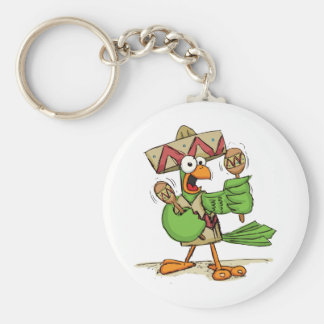 Parrot with Maracas Key Ring
