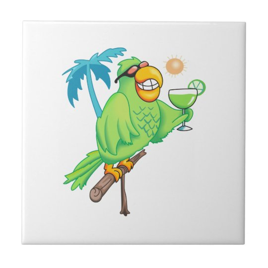 PARROT WITH MARGARITA SMALL SQUARE TILE