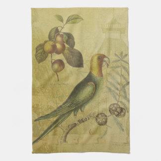 Parrot with Plums Tea Towel