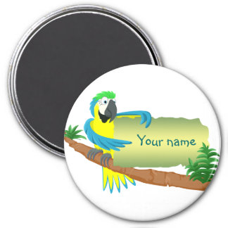 Parrot with sign for name/text 7.5 cm round magnet