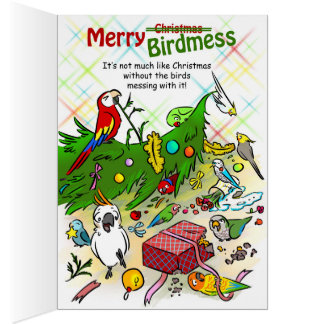 Parrots and Christmas tree Greeting Card