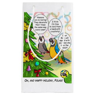 Parrots and Christmas tree Small Gift Bag