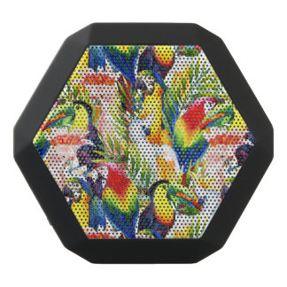 Parrots And Palm Leaves Black Bluetooth Speaker