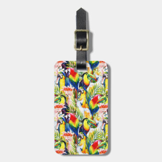 Parrots And Palm Leaves Luggage Tag
