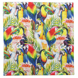 Parrots And Palm Leaves Napkin