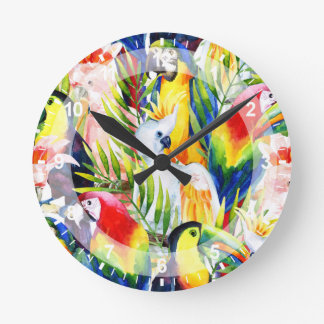 Parrots And Palm Leaves Round Clock